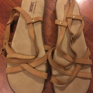 Bass Strappy Sandals Size 12WW Leather $40
